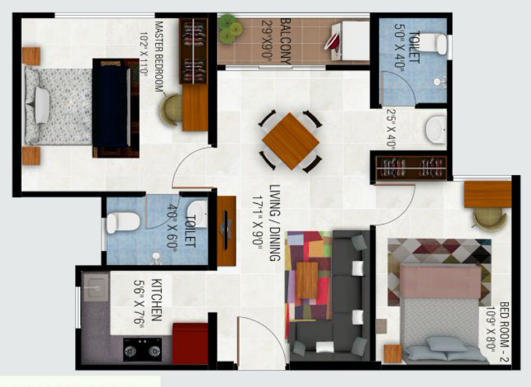 2BHK East Facing 764 Sq.Ft (70.9 Sq.Mt)