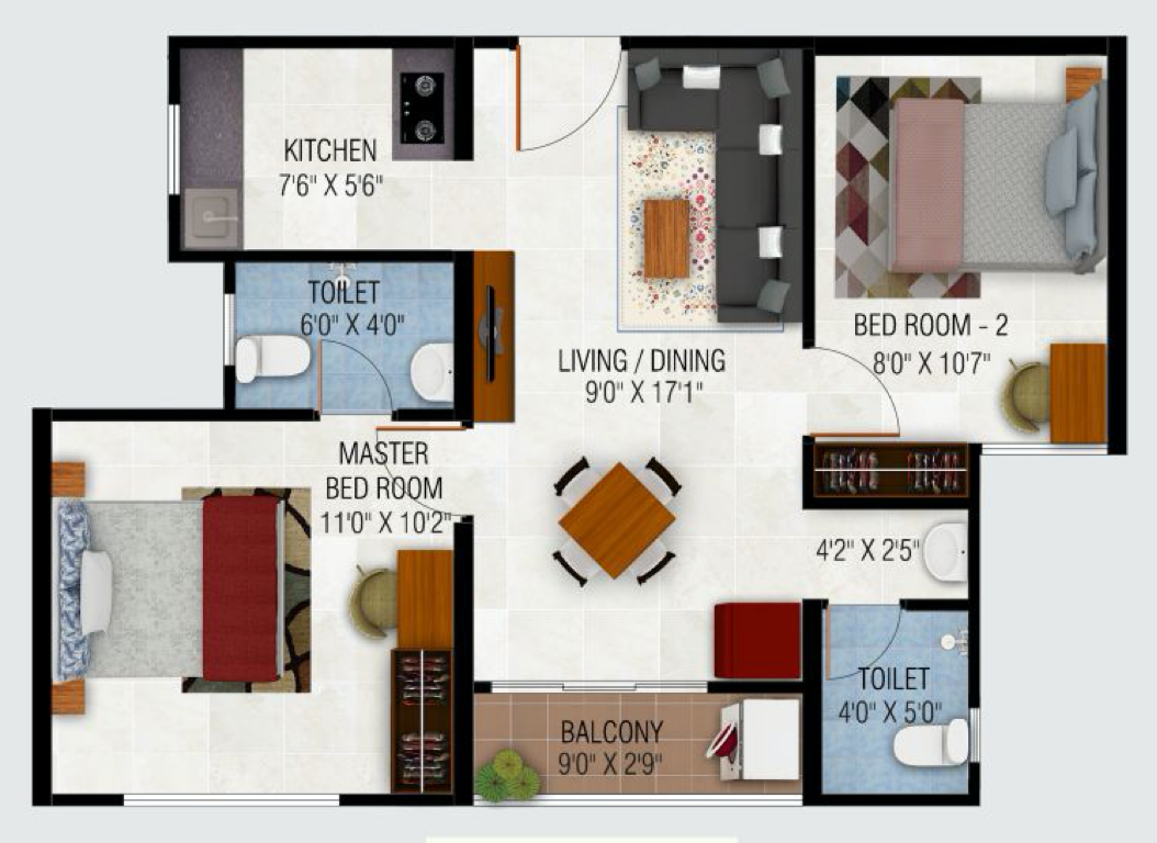 2BHK North Facing 764 Sq.Ft (70.9 Sq.Mt)