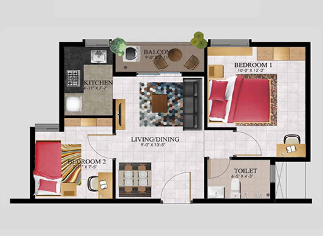 2BHK South Facing 626 SFT (58.1 Sq.Mt)