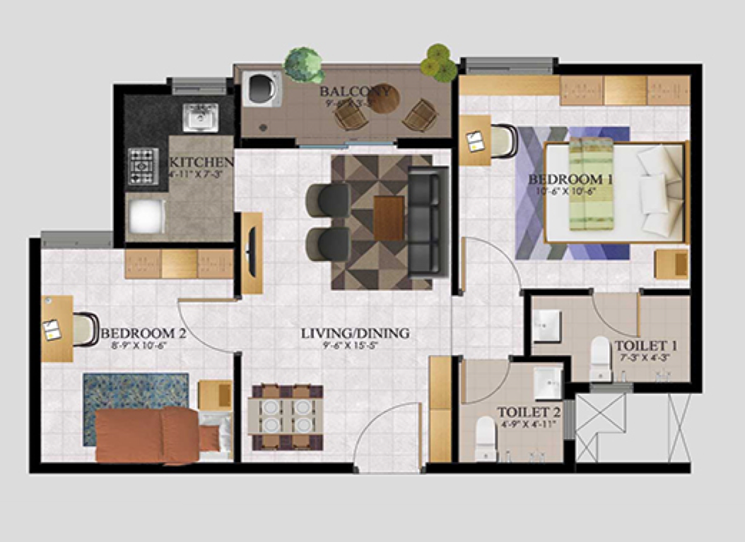 2BHK South Facing 741 SFT (68.8 Sq.Mt)