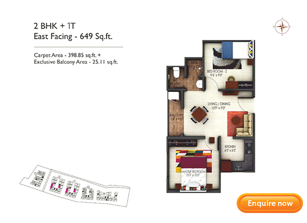 2BHK East Facing 649